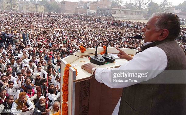 Samajwadi Party chief Mulayam Singh Yadav addresses an election rally on February 7 2012 in Ballia India In the first phase of the UP assembly...