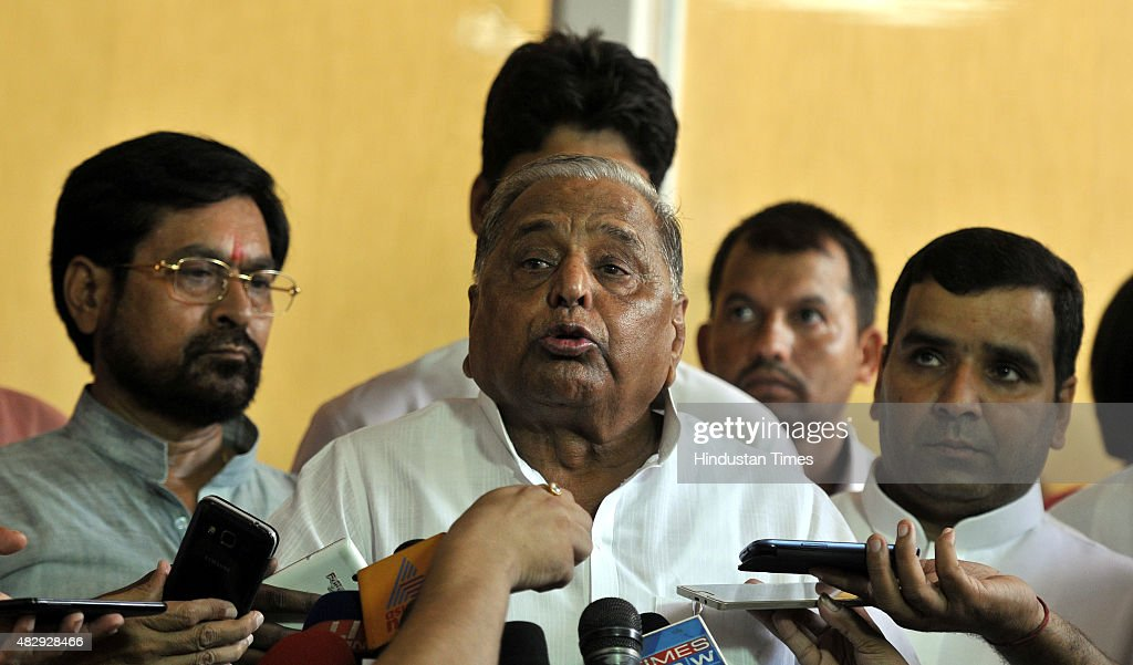 Samajwadi Party Chief <a gi-track='captionPersonalityLinkClicked' href=/galleries/search?phrase=Mulayam+Singh+Yadav&family=editorial&specificpeople=689640 ng-click='$event.stopPropagation()'>Mulayam Singh Yadav</a> addresses the media over the deadlock in Lok Sabha during the Monsoon Session at the Parliament House, on August 4, 2015 in New Delhi, India. Opposition parties including SP, RJD, Trinamool Congress and the Left also joined with Congress in boycotting the Lok Sabha, paralyzing the upper house and protest.
