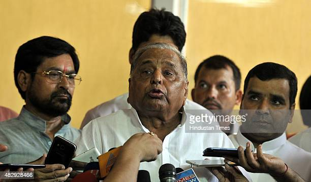 Samajwadi Party Chief Mulayam Singh Yadav addresses the media over the deadlock in Lok Sabha during the Monsoon Session at the Parliament House on...