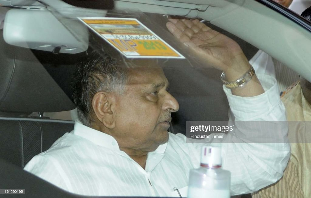 Samajwadi Party Chief Mulayam Singh Yadav leave parliament after attending Parliament budget session on March 21, 2013 in New Delhi, India. Anti-Rape law was passed in Rajya Sabha after it got passed in Lok Sabha two days ago.