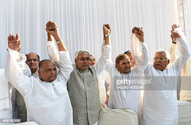 Samajwadi Party chief Mulayam Singh Yadav Nitish Kumar chief minister of Bihar Sharad Yadav of the Janata Dal party Lalu Prasad Yadav of Rashtriya...