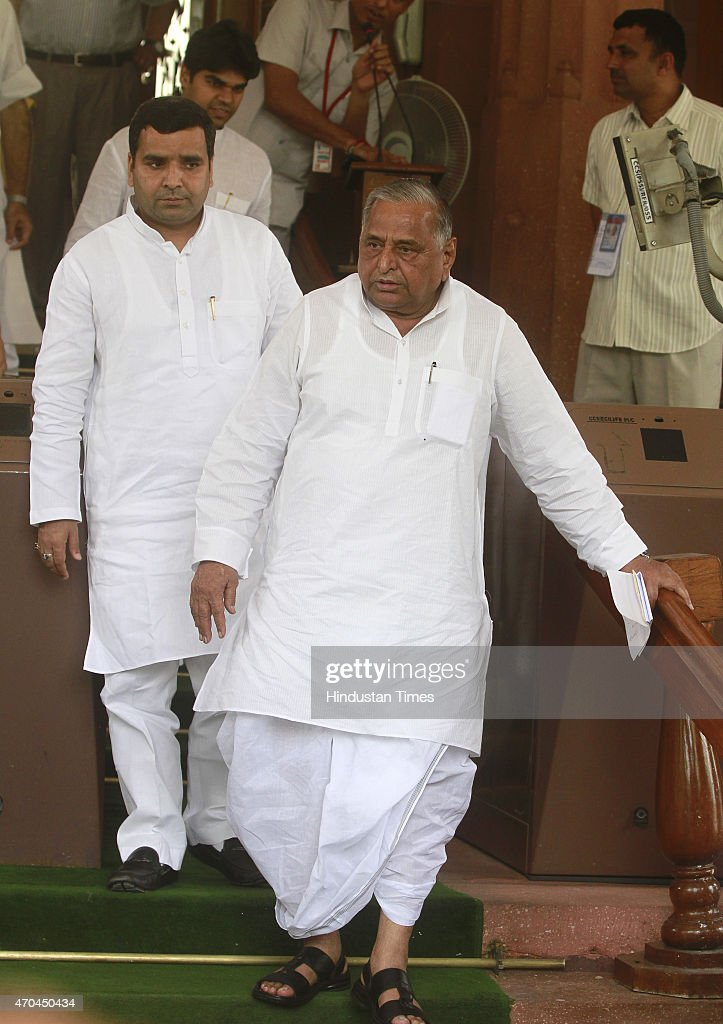 Samajwadi Party chief Mulayam Singh Yadav on the first day of the second part of the Budget session on April 20 2015 in New Delhi India Congress...