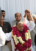 Samajwadi Party chief Mulayam Singh Yadav poses for photographers ahead of a press conference in New Delhi on April 15 2015 Six Indian leftleaning...