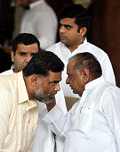 Samajwadi Party Chief Mulayam Singh Yadav talking to Lok Sabha Member of Parliament Pappu Yadav during the Parliament Monsoon Session on July 18 2016...