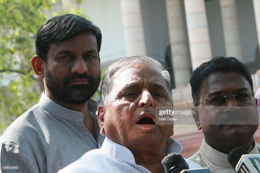 Samajwadi Party chief Mulayam Singh Yadav talking to media outside the parliament house in New Delhi on March 9 2010 The Women's reservation bill was...