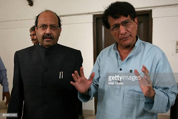 Samajwadi Party General Secretary Amar Singh leaves the residence of Rashtriya Lok Dal Chief Ajit Singh after a meeting in New Delhi on Saturday...