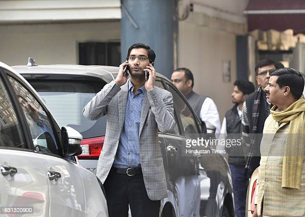 Samajwadi Party leader Aditya Yadav son of Shivpal Singh arrives for meeting with Election Commission at Nirvachan Sadan on January 9 2017 in New...