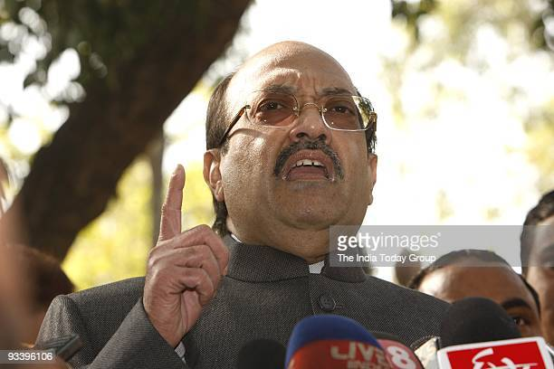 Samajwadi Party leader Amar Singh addresses media at Parliament House in New Delhi on Tuesday November 24 2009 Singh was involved in a scuffle with...