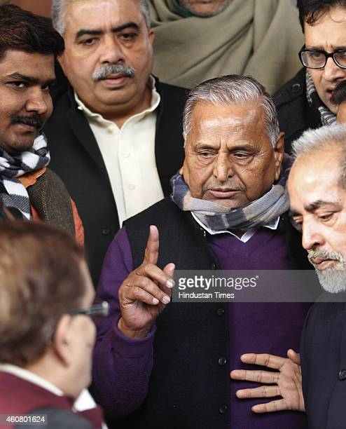 Samajwadi Party leader Mulayam Singh at Parliament House on last day of Parliament Winter Session on December 23 2014 in New Delhi India The...