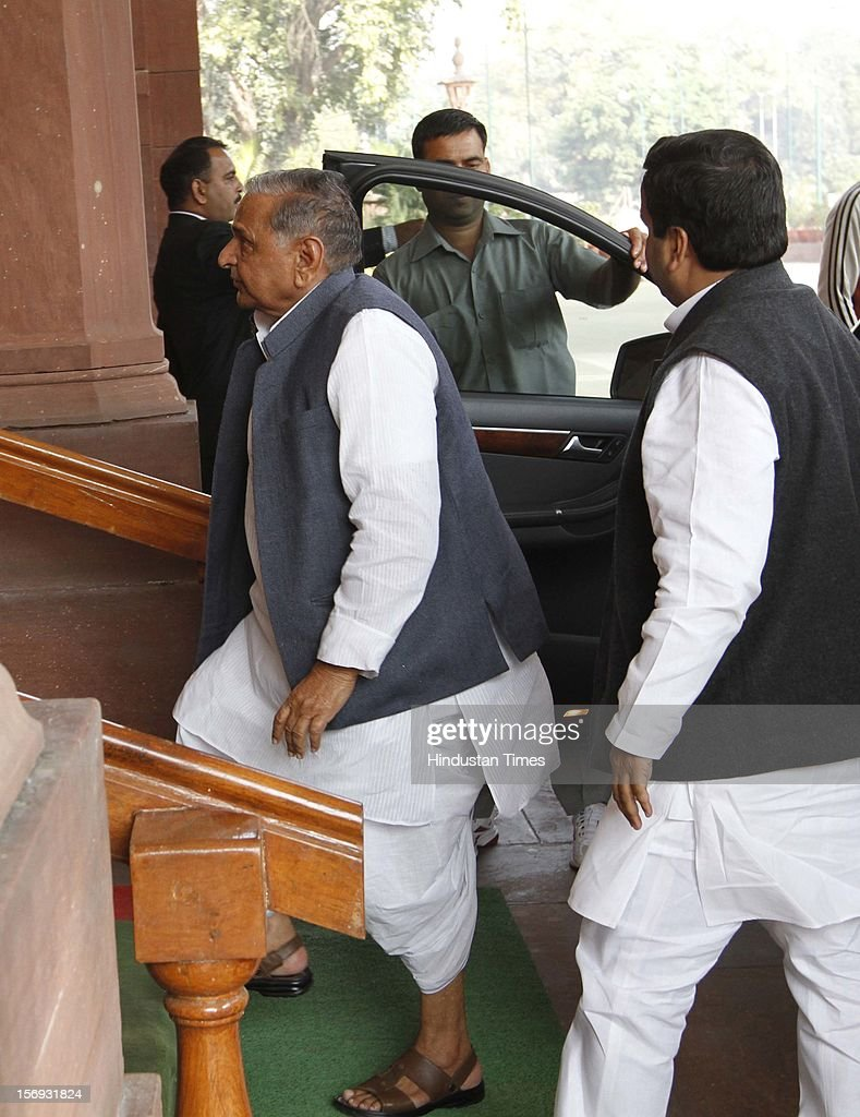 Samajwadi Party Leader Mulayam Singh Yadav at Parliament House on the first day of its winter session on November 22 2012 in New Delhi India...