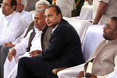 Samajwadi party leader Mulayam Singh Yadav industrialist Anil Ambani Bahujan Samaj Party leader Swami Prasad Maurya and other guests attend the...