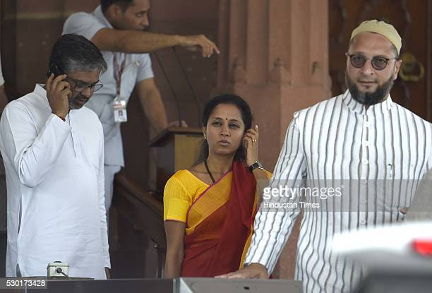 Samajwadi Party leader Neeraj Shekhar Singh NCP Leader Supriya Sule and All India MajliseIttehadul Muslimeen leader Asaduddin Owaisi at Parliament...