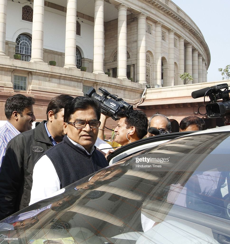 Samajwadi Party Leader Prof Ram Gopal Yadav, at Parliament House on the first day of its winter session on November 22, 2012 in New Delhi, India. Parliament's winter session began on a stormy note as the issue of FDI in trade and reservation for ST/SC in promotion disrupted the Lok Sabha and Rajya Sabha.