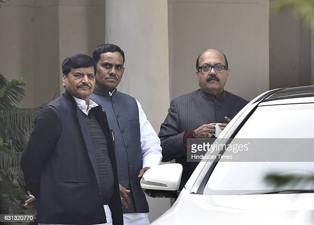 Samajwadi Party leaders Shivpal Singh Amar Singh after meeting with Election Commission at Mulayam Singh's residence on January 9 2017 in New Delhi...