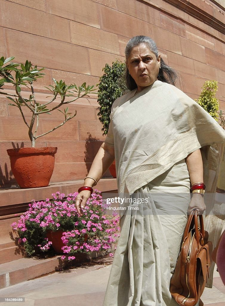Samajwadi Party MP Jaya Bachchan at Parliament house for ongoing Budget Session on March 22, 2013 in New Delhi, India. talking to media Jaya Bachchan said that she will meet Maharashtra Governor to pardon film star Sanjay Dutt in 1993 Mumbai blasts case.