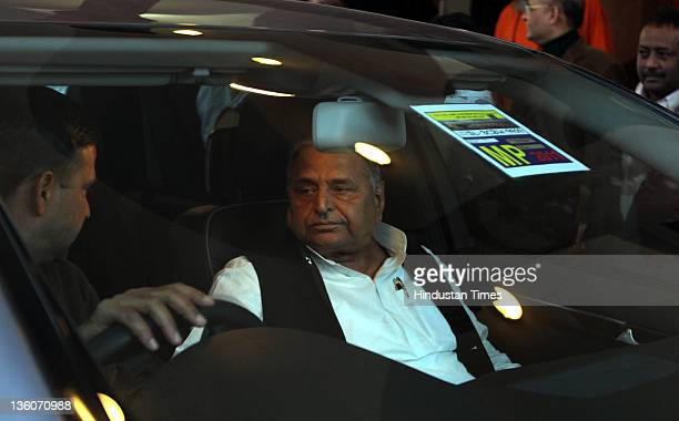 Samajwadi Party President Mulayam Singh Yadav appears at Parliament House on December 22 2011 in New Delhi India Two bills were considered in...