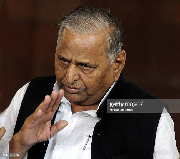 Samajwadi Party president Mulayam Singh Yadav at Parliament House during the Parliament winter session on December 9 2014 in New Delhi India...