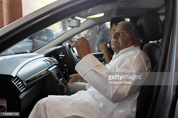 Samajwadi Party President Mulayam Singh Yadav talking to media at Parliament House during the ongoing budget session on April 25 2012 in New Delhi...