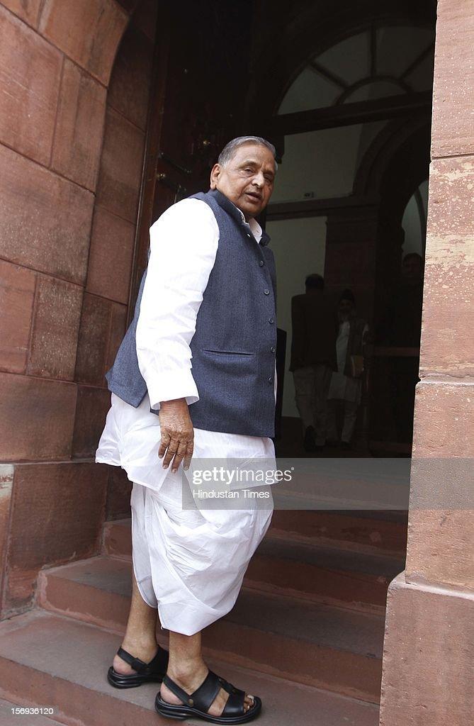 Samajwadi Party supremo Mulayam Singh Yadav at Parliament House during the winter session, on November 23, 2012 in New Delhi, India.