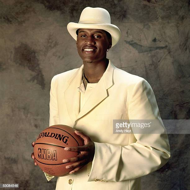 Samaki Walker poses for a portrait after being drafted by the Dallas Mavericks in the first round of the 1996 NBA Draft on June 1 1996 in East...