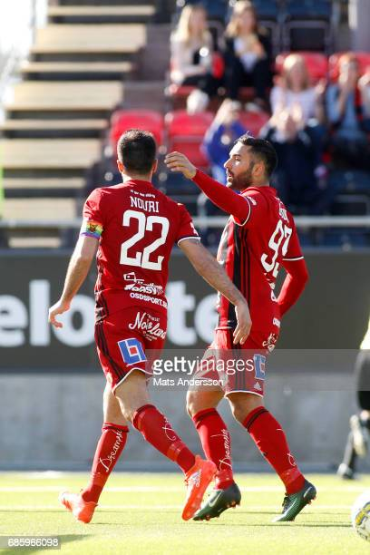 Saman Ghoddos and Brwa Nouri of Ostersunds FK celebrates after scoring 20 during the Allsvenskan match between Ostersunds FK and Kalmar FF at...