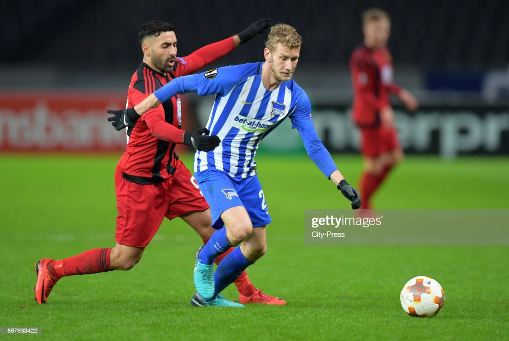 Saman Ghoddos of Oestersunds FK and Fabian Lustenberger of Hertha BSC during the UEFA Europa League, Group J match between Hertha BSC and Oestersunds FK on December 7, 2017 in Berlin, Germany.