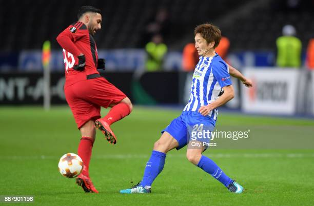 Saman Ghoddos of Oestersunds FK and Genki Haraguchi of Hertha BSC during the Uefa Europa League Group J match between Hertha BSC and Oestersunds FK...