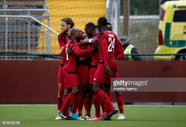 Saman Ghoddos of Ostersund celebrates his goal with his team mates during the UEFA Europa League 2nd Qualifying Round soccer match between...