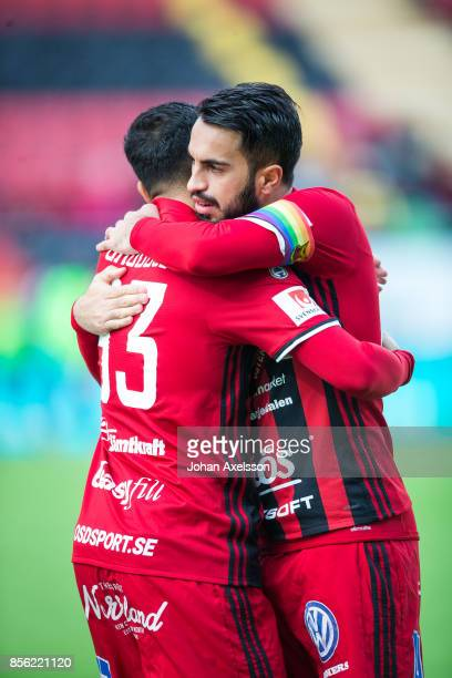 Saman Ghoddos of Ostersunds FK and Brwa Nouri of Ostersunds FK during the Allsvenskan match between Ostersunds FK and BK Hacken at Jamtkraft Arena on...