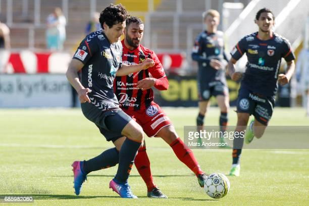 Saman Ghoddos of Ostersunds FK and Marko Biskupovic of Kalmar FF during the Allsvenskan match between Ostersunds FK and Kalmar FF at Jamtkraft Arena...