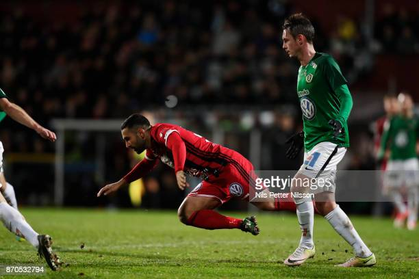 Saman Ghoddos of Ostersunds FK falls during the Allsvenskan match between Jonkopings Sodra IF and Ostersunds FK at Stadsparksvallen on November 5...