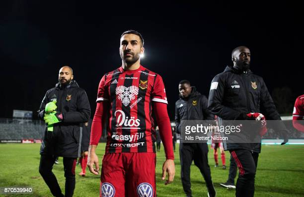 Saman Ghoddos of Ostersunds FK walks off the pitch after the Allsvenskan match between Jonkopings Sodra IF and Ostersunds FK at Stadsparksvallen on...