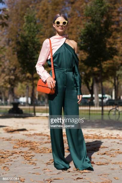 Samantha Angelo is seen attending Issey Miyake during Paris Fashion Week wearing Monse on September 29 2017 in Paris France
