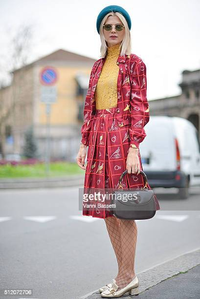 Samantha Angelo poses wearing Gucci after the Gucci show during the Milan Fashion Week Fall/Winter 2016/17 on February 24 2016 in Milan Italy