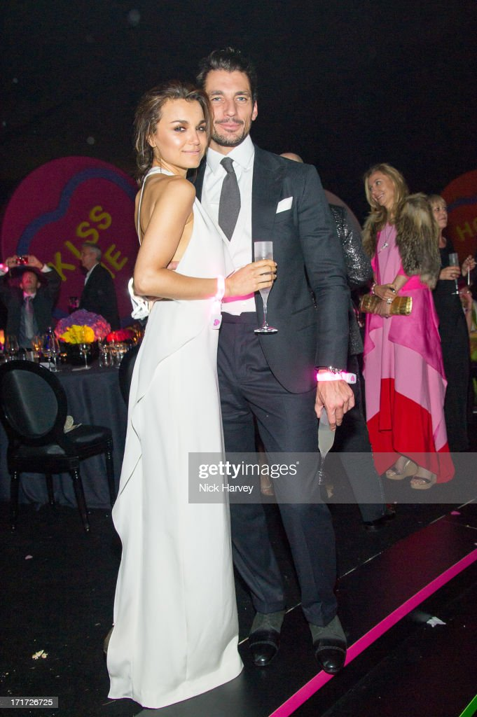 Samantha Barks and David Gandy attend the 15th Annual White Tie and Tiara Ball to Benefit Elton John AIDS Foundation in Association with Chopard at Woodside on June 27, 2013 in Windsor, England. No sales to online/digital media worldwide until the 14th of July. No sales before July 14th, 2013 in UK, Spain, Switzerland, Mexico, Dubai, Russia, Serbia, Bulgaria, Turkey, Argentina, Chile, Peru, Ecuador, Colombia, Venezuela, Puerto Rico, Dominican Republic, Greece, Canada, Thailand, Indonesia, Morocco, Malaysia, India, Pakistan, Nigeria. All pictures are for editorial use only and mention of 'Chopard' and 'The Elton John Aids Foundation' are compulsory. No sales ever to Ok, Now, Closer, Reveal, Heat, Look or Grazia magazines in the United Kingdom. No sales ever to any jewellers or watchmakers other than Chopard.