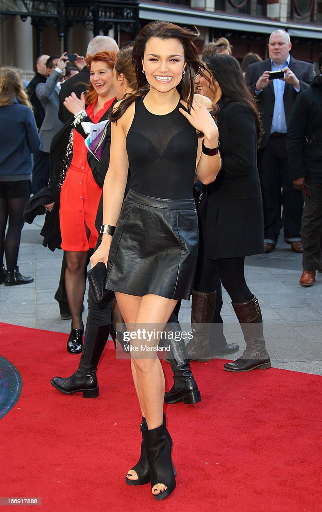 Samantha Barks attends a special screening of 'Iron Man 3' at Odeon Leicester Square on April 18, 2013 in London, England.