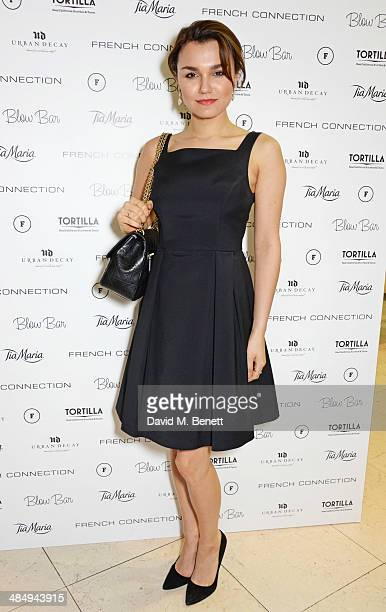 Samantha Barks attends the French Connection #CantHelpMySelfie launch party at French Connection Regent Street store on April 15 2014 in London...