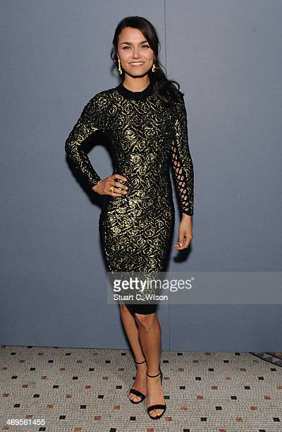 Samantha Barks attends the Julien Macdonald show at London Fashion Week AW14 at Royal Courts of Justice Strand on February 15 2014 in London England