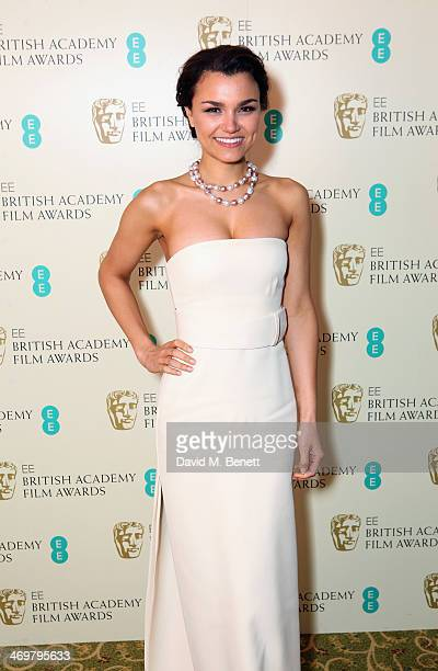 Samantha Barks attends the official dinner party after the EE British Academy Film Awards at The Grosvenor House Hotel on February 16 2014 in London...