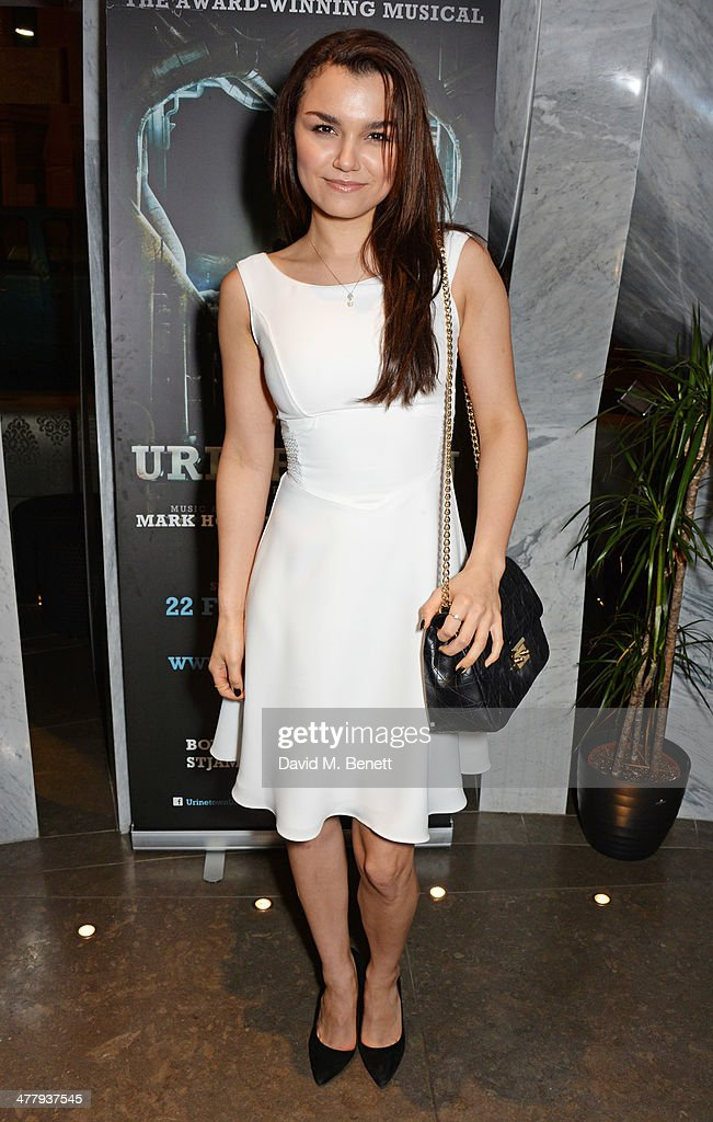 Samantha Barks attends the press night performance of 'Urinetown' at the St James Theatre on March 11, 2014 in London, England.