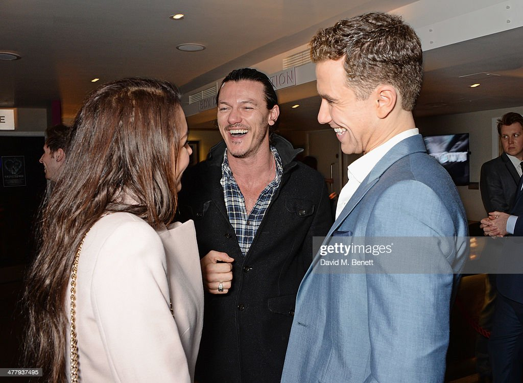Samantha Barks, Luke Evans and cast member Richard Fleeshman attend the press night performance of 'Urinetown' at the St James Theatre on March 11, 2014 in London, England.
