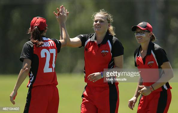 Samantha Betts of the Scorpions celebrates with team mates after taking the wicket of Rachael Haynes of the Breakers during the WNCL Final match...