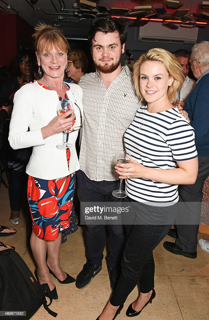 Samantha Bond and her children Tom Hanson and Molly Hanson attend the press night performance of 'The Gathered Leaves' at the Park Theatre on July 16...