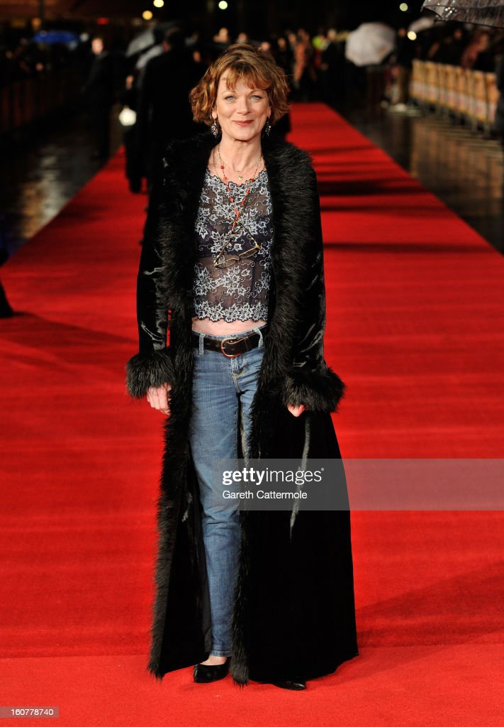 Samantha Bond attends the UK Premiere of 'Run For Your Wife' at Odeon Leicester Square on February 5, 2013 in London, England.