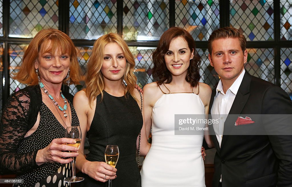 Samantha Bond Laura Carmichael Michelle Dockery and Allen Leech attend the Downton Abbey wrap party at The Ivy on August 15 2015 in London England