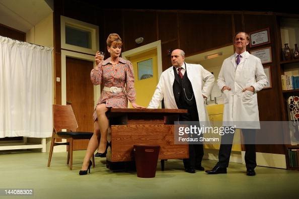 Samantha Bond Omid Djalili and Tim McInnerny perform 'What The Butler Saw' at Vaudeville Theatre on May 9 2012 in London England