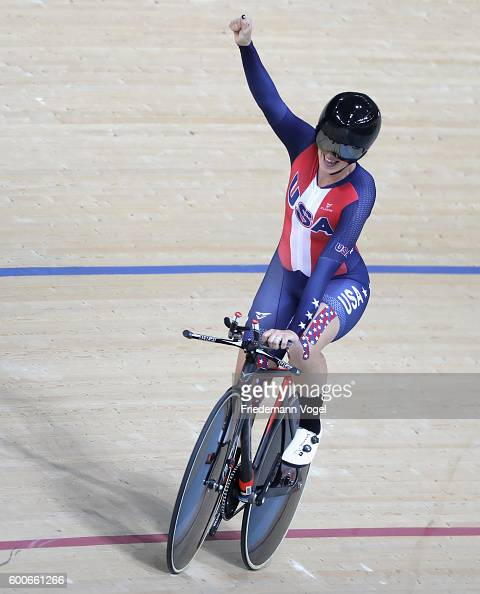Samantha Bosco of the USA celebrates after winning the bronze medal race in the women's C5 3000m individual pursuit track cycling on day 1 of the Rio...