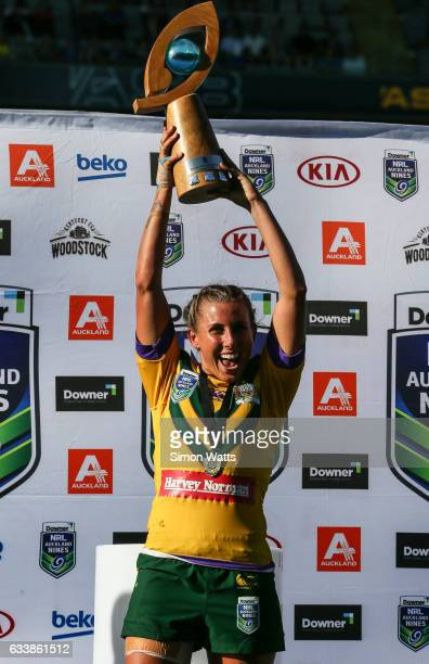 Samantha Bremner of the Australian Jillaroos celebrates beating the Kiwi Ferns during the 2017 Auckland Nines at Eden Park on February 5 2017 in...