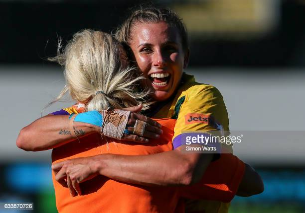 Samantha Bremner of the Australian Jillaroos celebrates victory during the 2017 Auckland Nines match between the Australian Jillaroos and the Kiwi...