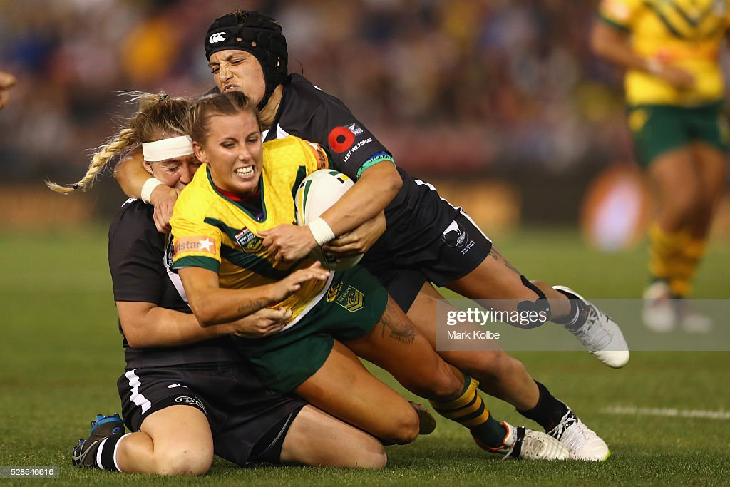 Samantha Bremner of the Jillaroos is tackled during the Women's international Rugby League Test match between the Australian Jillaroos and New Zealand Kiwi Ferns at Hunter Stadium on May 6, 2016 in Newcastle, Australia.